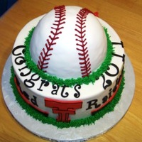 Txeas Tech Red Raiders Baseball Cake Made for my sons little league baseball team party.Bottom tier is chocolate, ball is vanilla, all buttercream with fondant accents.
