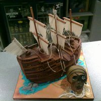 Pirate Ship And Chocolate Skull The Mast Sails And Ropes Are Not Cake I Found Some Amazing Fabric That I Wanted To Use And The Cake Had Pirate Ship and Chocolate Skull The mast, sails and ropes are not cake, I found some amazing fabric that I wanted to use, and the cake had...