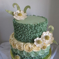 Green Ombre Birthday Cake   Gumpaste flowers