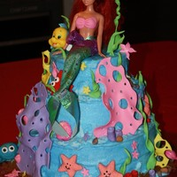 Ariel Birthday Cake Made this for my little niece Chloe. Covered in buttercream, decorations are gumpaste and fondant.