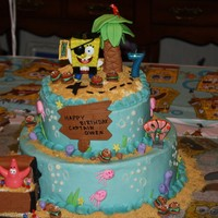 Pirate Spongebob My son's birthday cake. Layers are alternating chocolate and peanut butter with white chocolate buttercream. Patrick, Spongebob and...