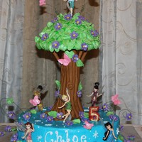 Tinkerbell Tree Cake Cake is iced with buttercream. Tree is made from fondant and rice krispy treats.