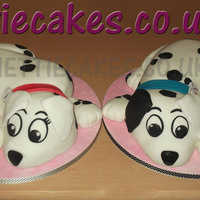 "101 Dalmation Pups Cake made from 2 x 8"" round sponge cakes."