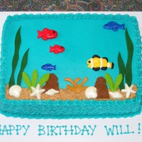 Under The Ocean Theme   BC with fondant details. Sand is a combo of brown sugar and graham cracker crumbs.
