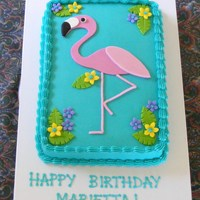 Flamingo   Buttercream with fondant flamingo (body only - legs are BC), flowers and leaves.