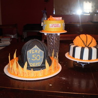 This Is Your Life Cake  A friend asked me to make a cake for her husband's 50th birthday that told the story of what his careers had been. He was a fireman, a...