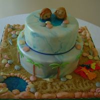Swimming In The Sea a totally edible cake with all handmade decorations and all finished with lustre powders..
