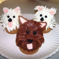 Puppy Cupcakes I saw a version of these in a magazine. Fun to make. There is a mini-cupcake on the top of the base cupcake.