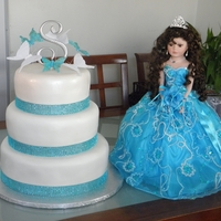 Blue quinceanera rum almond cake