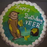 Curious George  8 inch vanilla chiffon with vanilla whipped cream frosting. Fondant curious george made in a hurry because the RI image broke while...