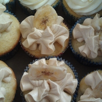 Fat Elvis Cupcake banana cupcake with peanut butter frosting and filling topped with a dried banana chip