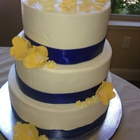 Yellow Flowers, Blue Ribbon Buttercream with fondant flowers and satin ribbon
