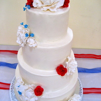 July 4 Wedding Buttercream, with gumpaste flowers