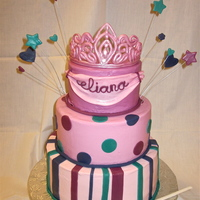 First Birthday Buttercream with fondant decorations. Gumpaste tiara and wand.