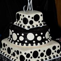 "Polka Dots! 6"" square, 12"" round, 14"" square cakes iced in buttercream and covered in homemade fondant from recipes off this site! The..."