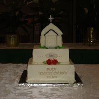 200Th Birthday This was for our church's 200th Birthday. Church is covered in fondant with fondant and gumpaste details. Bottom teirs are bc with...