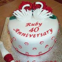 Ruby Wedding Sponge cake with buttercream filling and all mmf accents.