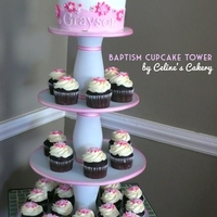 "Baptism Cupcake Tower   with a 6"" cake on top"