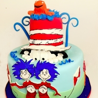 "Cat In The Hat Cake I made this cake for the first birthday of twin girls. The big brother calls them ""thing one and thing 2"" : ) 10"" and 4""..."