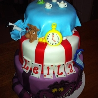 Alice In Wonderland Three tier , two vanilla and one rainbow