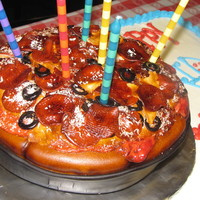 Deep Dish, Personal Pan Pizza! mmf decoration with details inspired by other cake central creators!pizza cake was birthday boy's personal cake and sheet cake served...
