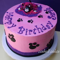 "Cute Kitty Birthday Catcreations has the cutest cake, featuring a kitty under a pile of string and adorable pawprints; I copied her design for this 10""..."
