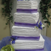 Square Tiers With Purple Theme   My brothers wedding cake