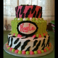 Zebra Cake With Pink And Green
