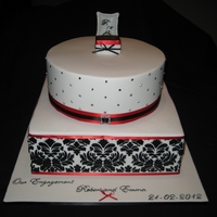 Red/black And White Theme Engagement Cake Mixed shape, strawberries & cream bottom layer with black stencil in royal icing, diamontes on top round layer that is white & dark...