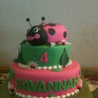 Buggie Lady bug cake for little girl.