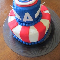 Captain America Cake   8 and 6-inch cakes for my son's 4th birthday. I was inspired by smbegg's design on here.