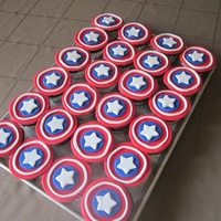 Captain America Shield Cupcakes   Choc. cupcakes with fondant shields on top. My 4-year-old was pleased! I was inspired by athenarose's cupcakes.