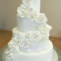 White Roses Wedding Cake All white wedding cake. Fondant & sugar roses.