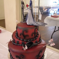 Corpse Bride Cake this was created for a really fun couple. they provided the topper and we created the cake