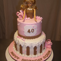 Doll Cake created for a 40year old barbie collector. buttercream iced with fondant accents