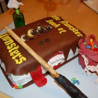 Monster Book Of Monsters Inspiration taken from all the Monster Book cakes on here. Chocolate and white cake, all edible except for glasses, potion bottle and...