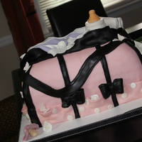 Pink Diaper Bag pink and black diaper bags with bottle little blanket and flowers