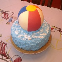 Beach Ball Cake RKT ball covered with fondant, ocean cake iced with Pastry Pride, brown sugar/graham cracker sand.