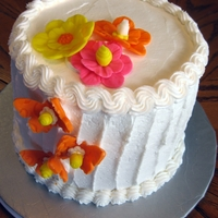 Floral Butterflies Ombre cake with buttercream icing and fondant accessories