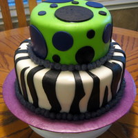 Zebra And Dots Lime green top layer with black and purple dots, bottom zebra layer. My first attempt with homemade fondant.