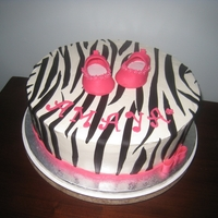 Zebra And Pink Buttercream Frosting, Fondant Accents and Gumpaste Shoes.