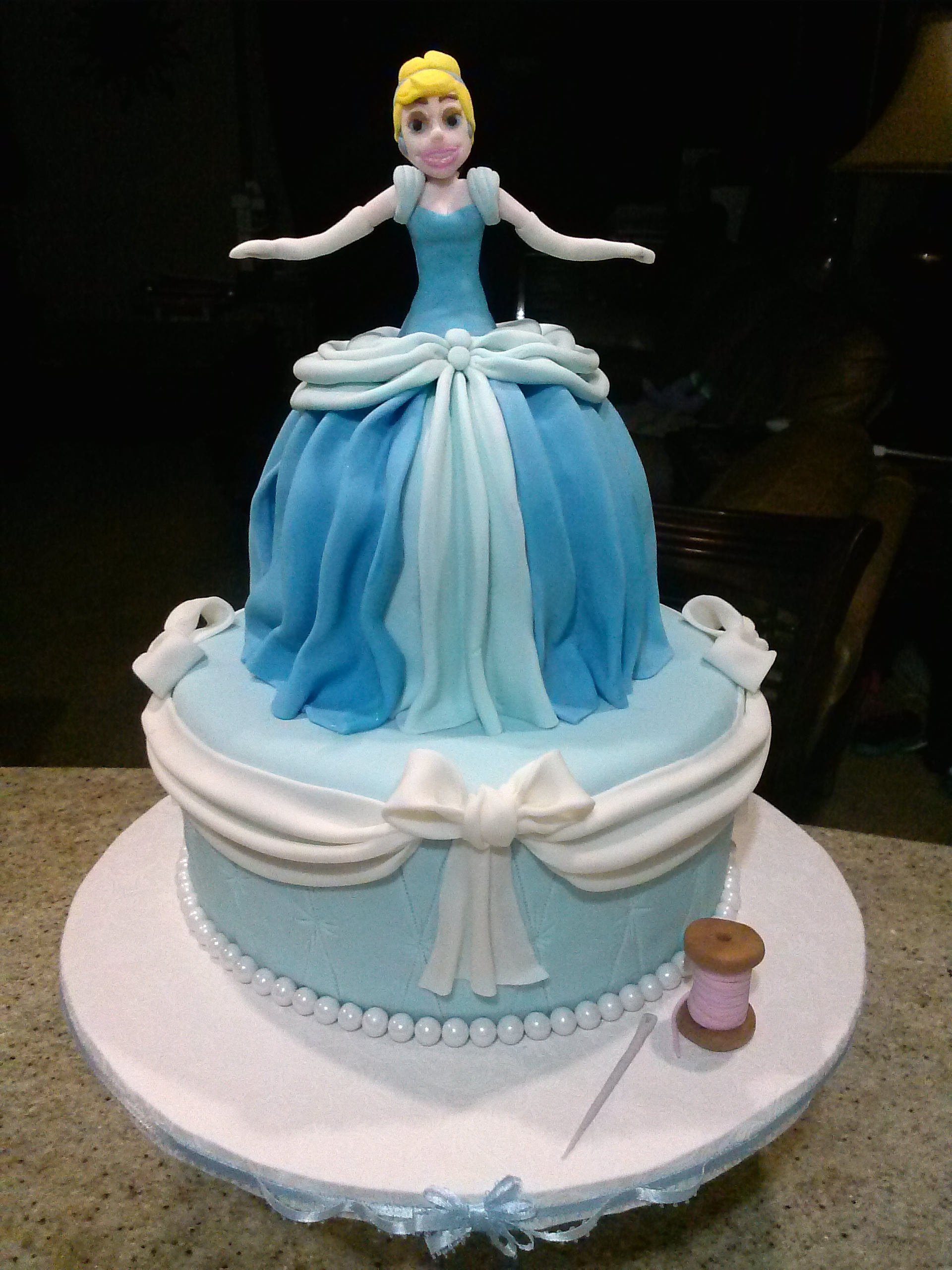 Cinderella This is a ten inch botton tier. Cinderella's dress is a six inch cake!.