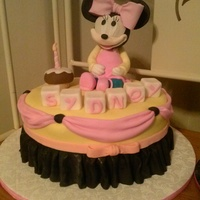 Minnie Mouse 1St Birthday Cake Minnie Mouse Is Rice Crispy Treats Covered In Fondant Minnie Mouse 1st birthday cake. Minnie mouse is rice crispy treats covered in fondant.