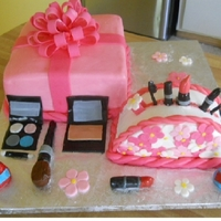 Girly Makeup Cake bc frosting on cake, gumpaste and mm fondant on makeup.