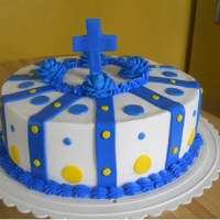Christening Cake bc frosting, all decorations are mm fondant