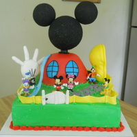 Mickey Mouse Clubhouse ears, head, and foot are styroform. bc frosting cake with cream cheese filling. hand was made of mm fondant.