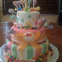 Candy Land Theme Birthday Cake 3 tier fondant with real candy and first initial topper