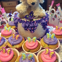 Butterfly Cupcakes With 8 Puppy and Butterfly theme. Buttercream, fondant and royal icing sprinkled with pink edible glitter