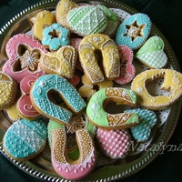 Honey Cookiies Decorated With Royal Icing