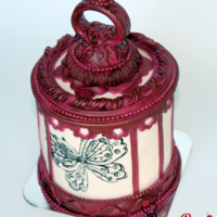 Vintage Butterfly Cage A mini cake with Burgandy and Ivory colors.